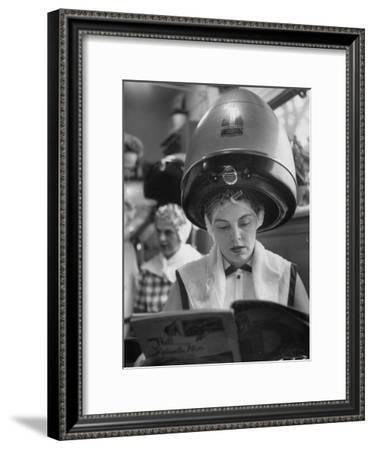 Woman Sitting under Hair Dryer Reading a Magazine-Gordon Parks-Framed Premium Photographic Print