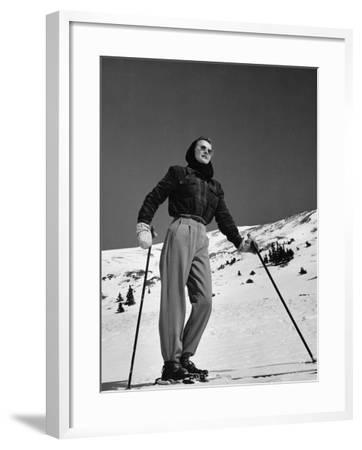 Woman Skier Standing on Slopes--Framed Photographic Print