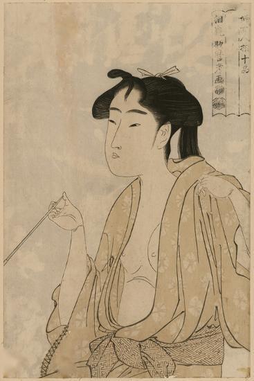 Woman Smoking a Pipe-Kitagawa Utamaro-Art Print