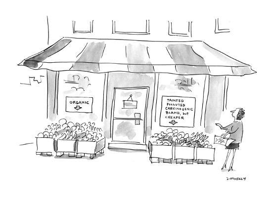 (Woman standing outside of grocery store. One signs in store's window read? - Cartoon-Liza Donnelly-Premium Giclee Print
