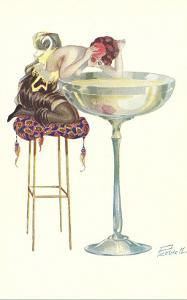 Woman Staring into Champagne Glass