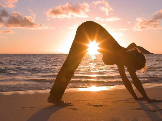 Woman Stretching on Beach-Tomas del Amo-Photographic Print