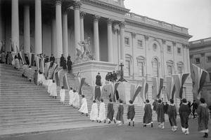 Woman Suffrage Demonstration with Banners at the U.S. Capitol in 1917