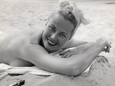 Woman Sunning and Smoking at Beach-George Marks-Photographic Print