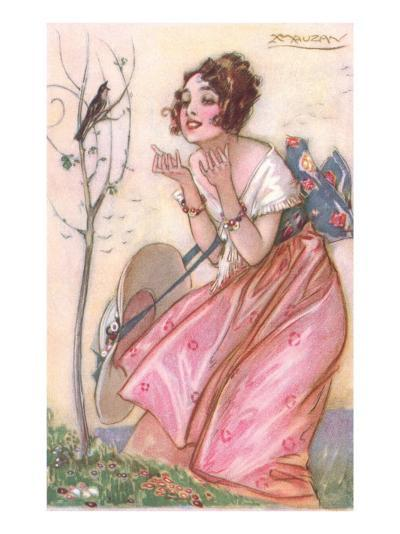 Woman Talking to Singing Bird--Art Print