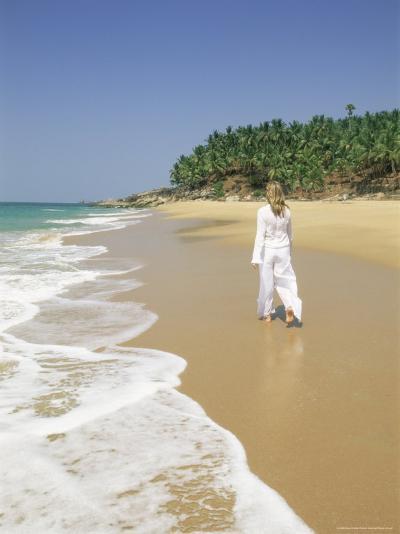 Woman Tourist Walking Along the Beach, Kovalam, Kerala State, India, Asia-Gavin Hellier-Photographic Print