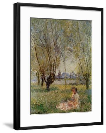 Woman Under the Willows-Claude Monet-Framed Art Print