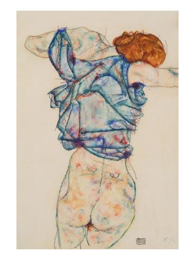 Woman Undressing-Egon Schiele-Giclee Print