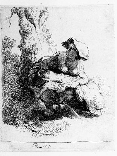 Woman Urinating under a Tree, 1631 (Etching)-Rembrandt van Rijn-Giclee Print