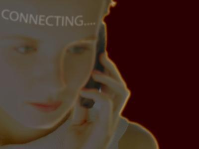 Woman Using Cell Phone with Superimposed Word Connecting--Photographic Print