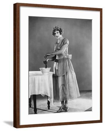 Woman Using Eggbeater--Framed Photo