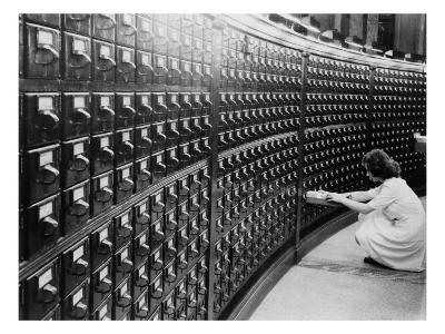 Woman Using the Card Catalog at the Main Reading Room of the Library of Congress, 1940--Photo