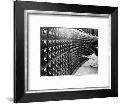 Woman Using the Card Catalog at the Main Reading Room of the Library of Congress, 1940--Framed Photo
