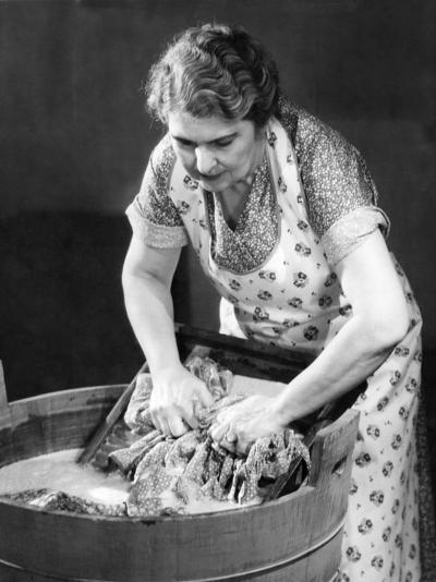 Woman Using Wash Board-George Marks-Photographic Print