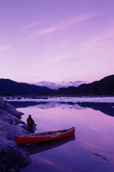 Woman Viewing Lake Next to Canoe Shoup Bay Marine Park-Design Pics Inc-Photographic Print