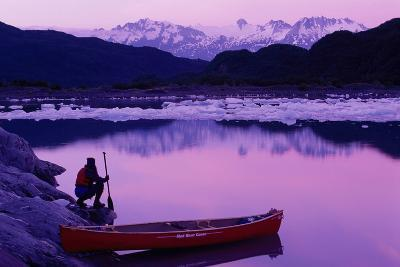 Woman Viewing Lake Next to Canoe Shoup Bay Marine Park-Design Pics Inc-Photographic Print