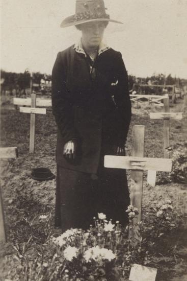 Woman Visiting the Grave of a Soldier Killed in the First World War--Photographic Print