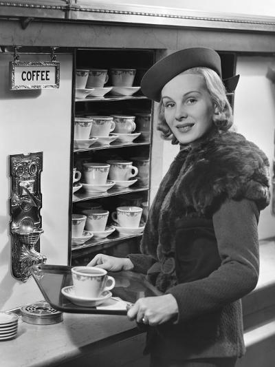 Woman W/Coffee on Tray-George Marks-Photographic Print