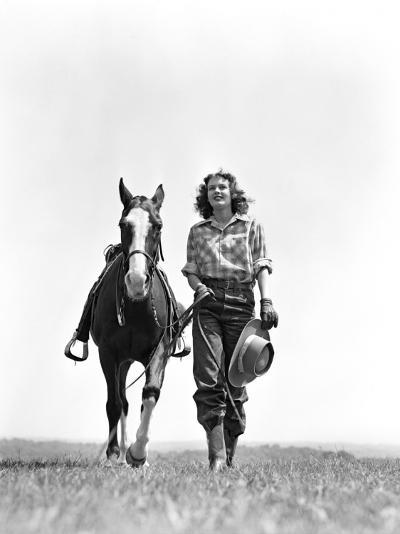 Woman Walking Beside Horse Holding Cowboy Hat in Gloved Hand-H^ Armstrong Roberts-Photographic Print