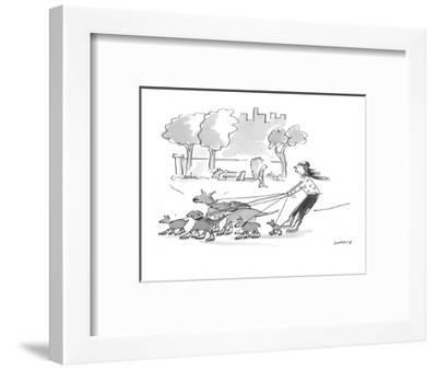 Woman walking dogs in park. Dogs, wearing roller blades, pull woman, also ? - Cartoon-Liza Donnelly-Framed Premium Giclee Print