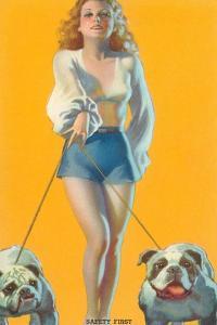 Woman Walking English Bulldogs
