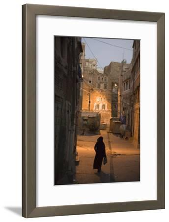 Woman Walking in Old Town, Dusk, San'a, Yemen, Middle East-Holger Leue-Framed Photographic Print