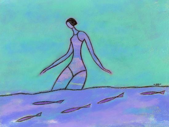 Woman Walking in the Water-Marie Bertrand-Giclee Print
