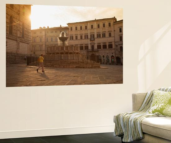 Woman Walking Past Fontana Maggiore in Piazza Iv Novembre at Dawn Perugia, Umbria, Italy-Ian Trower-Wall Mural