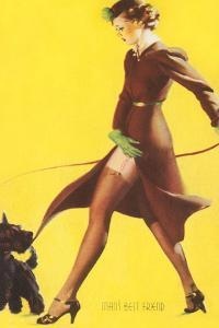 Woman Walking Scotty Dog