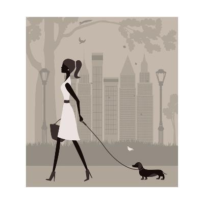 Woman Walking with a Dog. Vector-Ladoga-Art Print