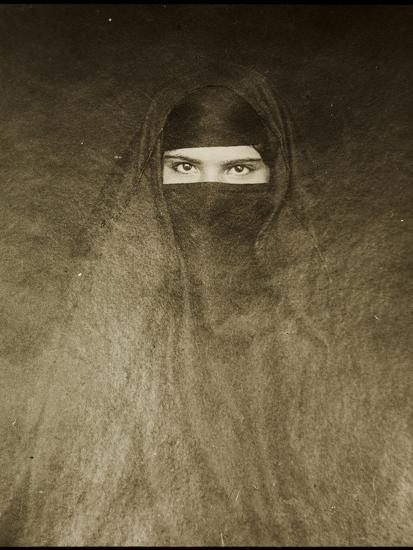 Woman Wearing a Burqa, Early 20th Century--Photographic Print
