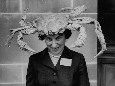 Woman Wearing a Crab Hat at the League of Women Voter's Convention-Robert W^ Kelley-Photographic Print