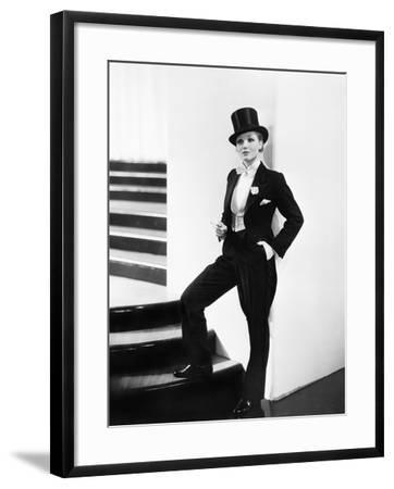 Woman Wearing a Formal Men's Tuxedo--Framed Photo