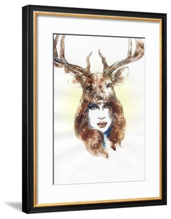 Woman Wearing a Mask. Hand Painted Fashion Illustration-Anna Ismagilova-Framed Art Print