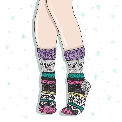 Woman Wearing A Pair Of Wool Socks. Cute Winter Background-cherry blossom girl-Art Print