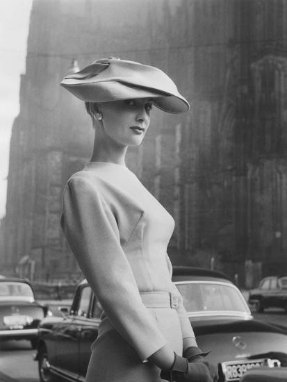 Woman Wearing An Elegant Spiral-Shaped Hat, 1956-The Chelsea Collection-Giclee Print