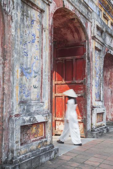 Woman Wearing Ao Dai Dress at Dien Tho Inside Citadel, Hue, Thua Thien-Hue, Vietnam (Mr)-Ian Trower-Photographic Print