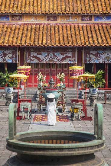 Woman Wearing Ao Dai Dress at Mieu Temple Inside Citadel, Hue, Thua Thien-Hue, Vietnam, Indochina-Ian Trower-Photographic Print