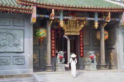 Woman Wearing Ao Dai Dress at Nghia an Hoi Quan Pagoda, Cholon, Ho Chi Minh City, Vietnam-Ian Trower-Photographic Print
