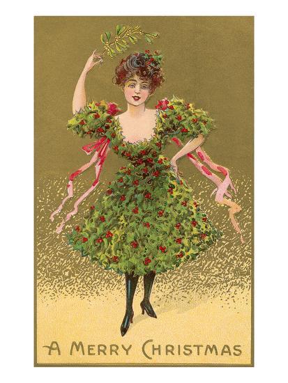 Woman Wearing Christmas Tree--Premium Giclee Print