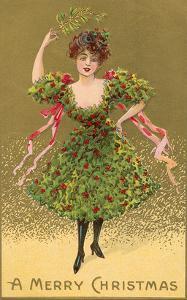 Woman Wearing Christmas Tree
