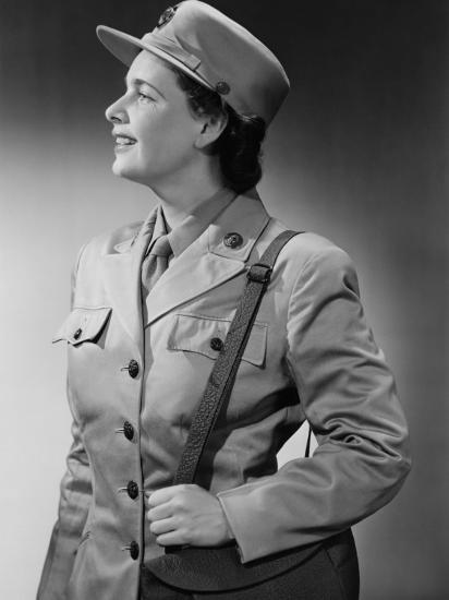 Woman Wearing Military Uniform-George Marks-Photographic Print