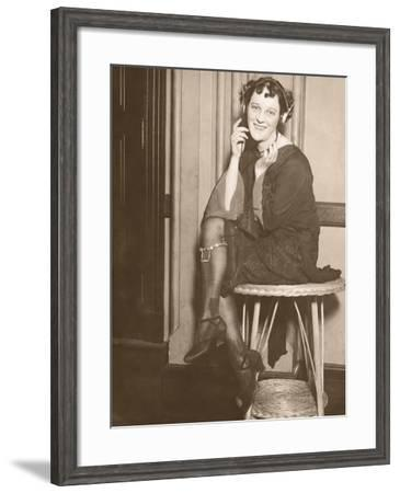 Woman Wearing Radio Headphones, Portrait--Framed Photographic Print