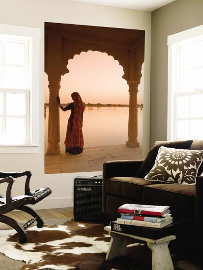 Woman Wearing Sari, Jaisalmer, Rajasthan, India-Doug Pearson-Wall Mural