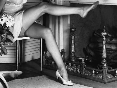 Woman Wearing Stockings Sitting By Fireplace-George Marks-Photographic Print