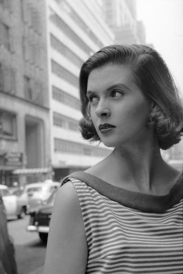 Woman Wearing Striped Shirt Modeling the Page Boy Hair Style on City Street, New York, NY, 1955-Nina Leen-Photographic Print