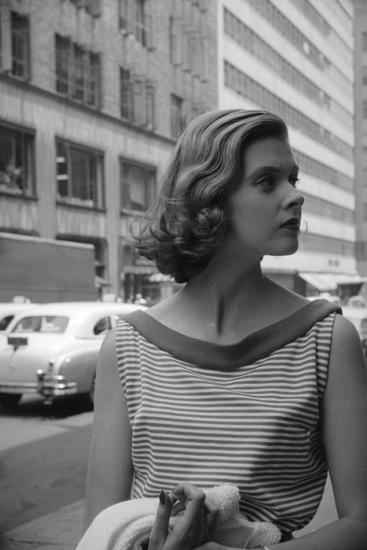 Woman Wearing Striped Shirt Modeling the Page Boy Hair Style on City  Street, New York, NY, 1955 Photographic Print by Nina Leen | Art com