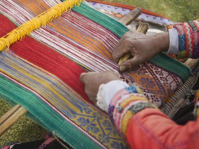 Woman Weaving, Traditional Backstrap Loom, Cuzco, Peru-John & Lisa Merrill-Photographic Print