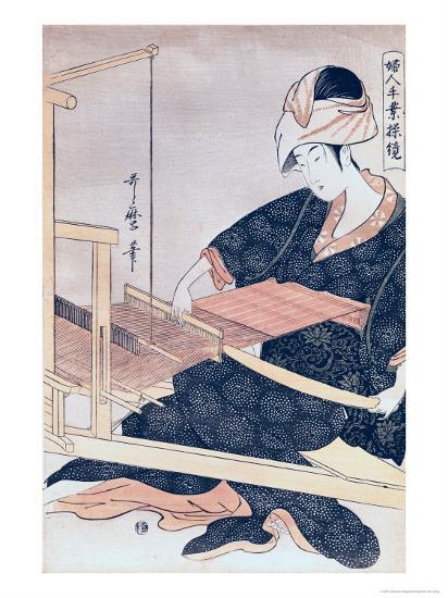 Woman Weaving-Kitagawa Utamaro-Giclee Print
