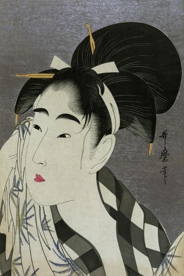 Woman Wiping Sweat, 1798-Kitagawa Utamaro-Giclee Print
